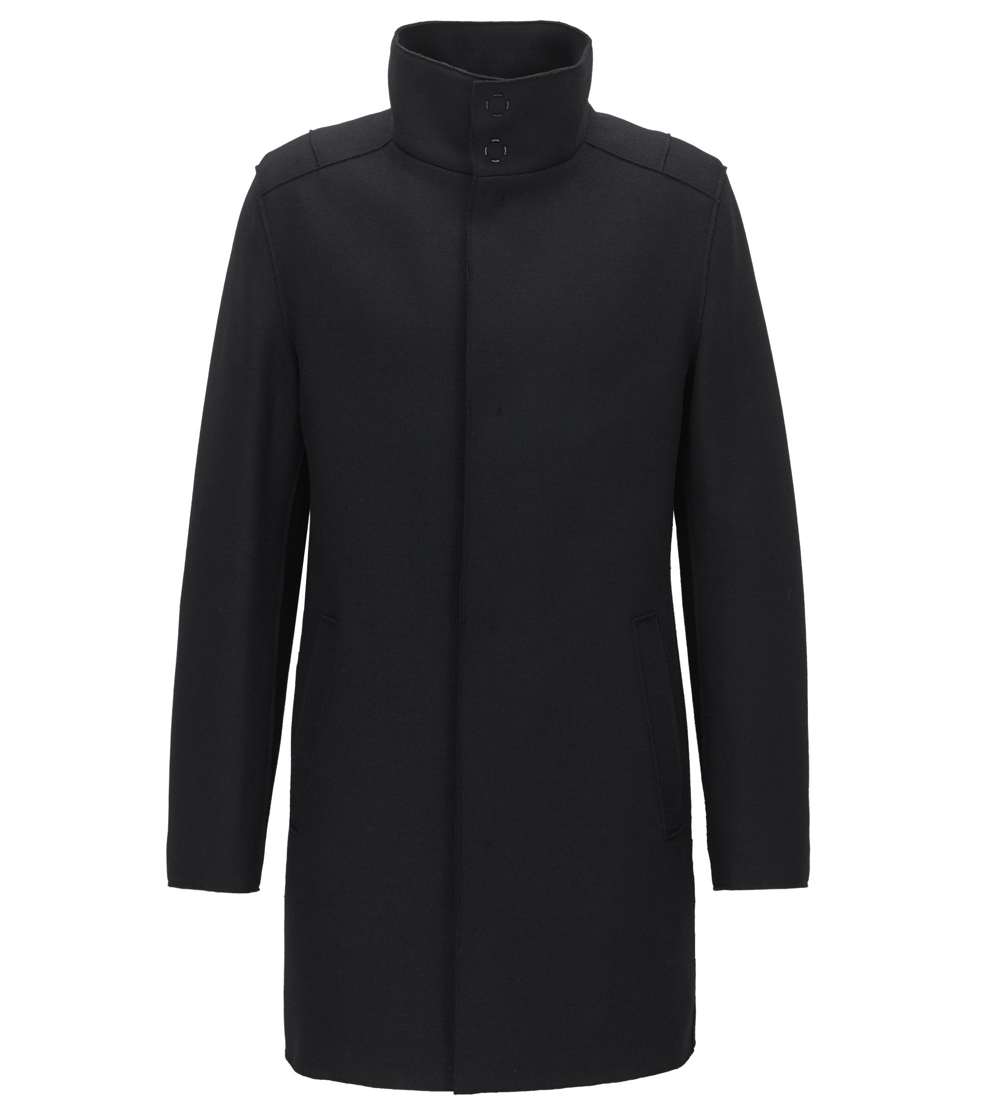 Virgin Wool Cashmere Blend Coat | Minlo, Black