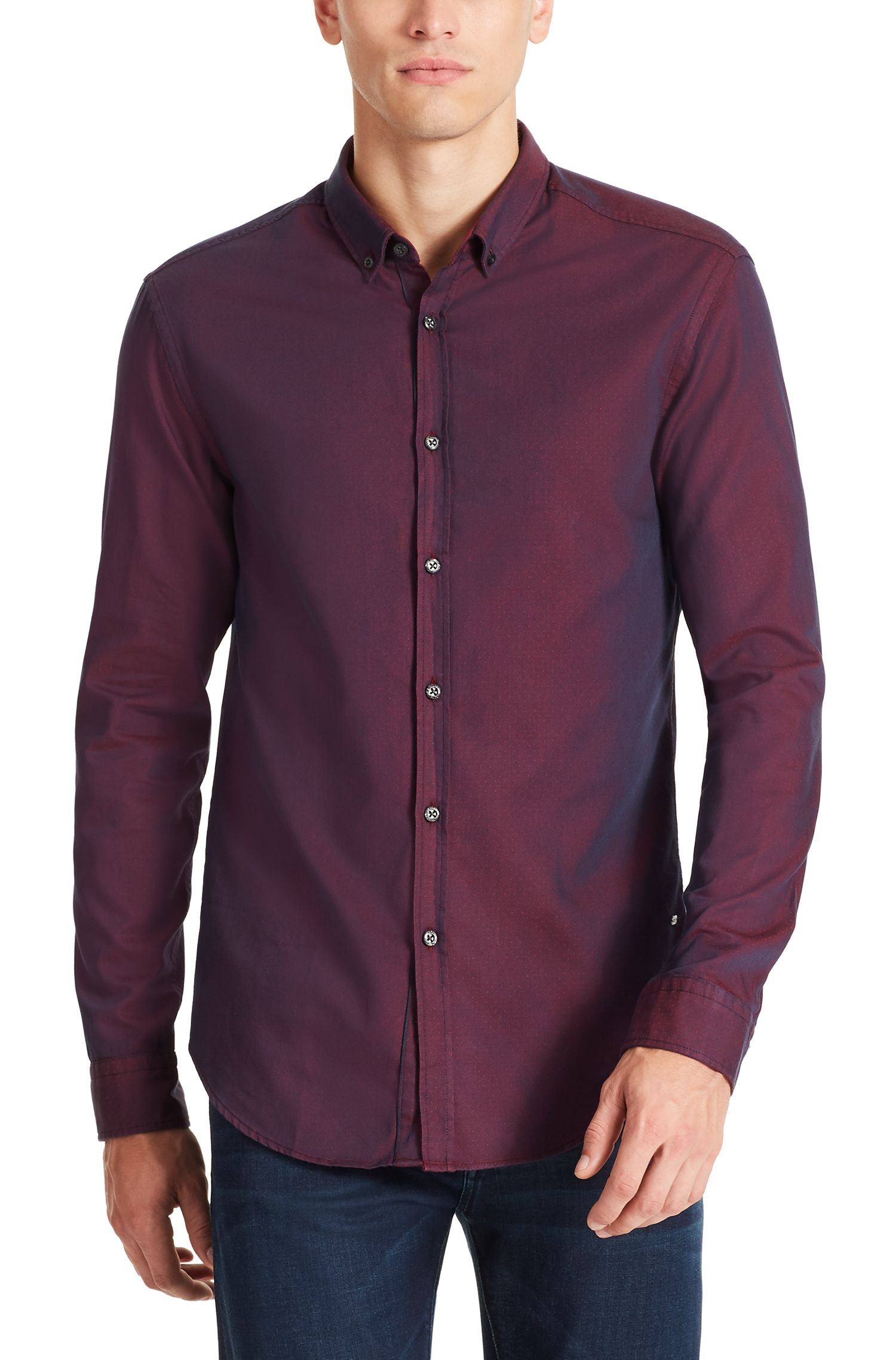 Cotton Button Down Shirt, Regular Fit | C-Baldasar S, Red