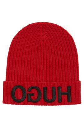'Men X' | Logo Wool Beanie, Red