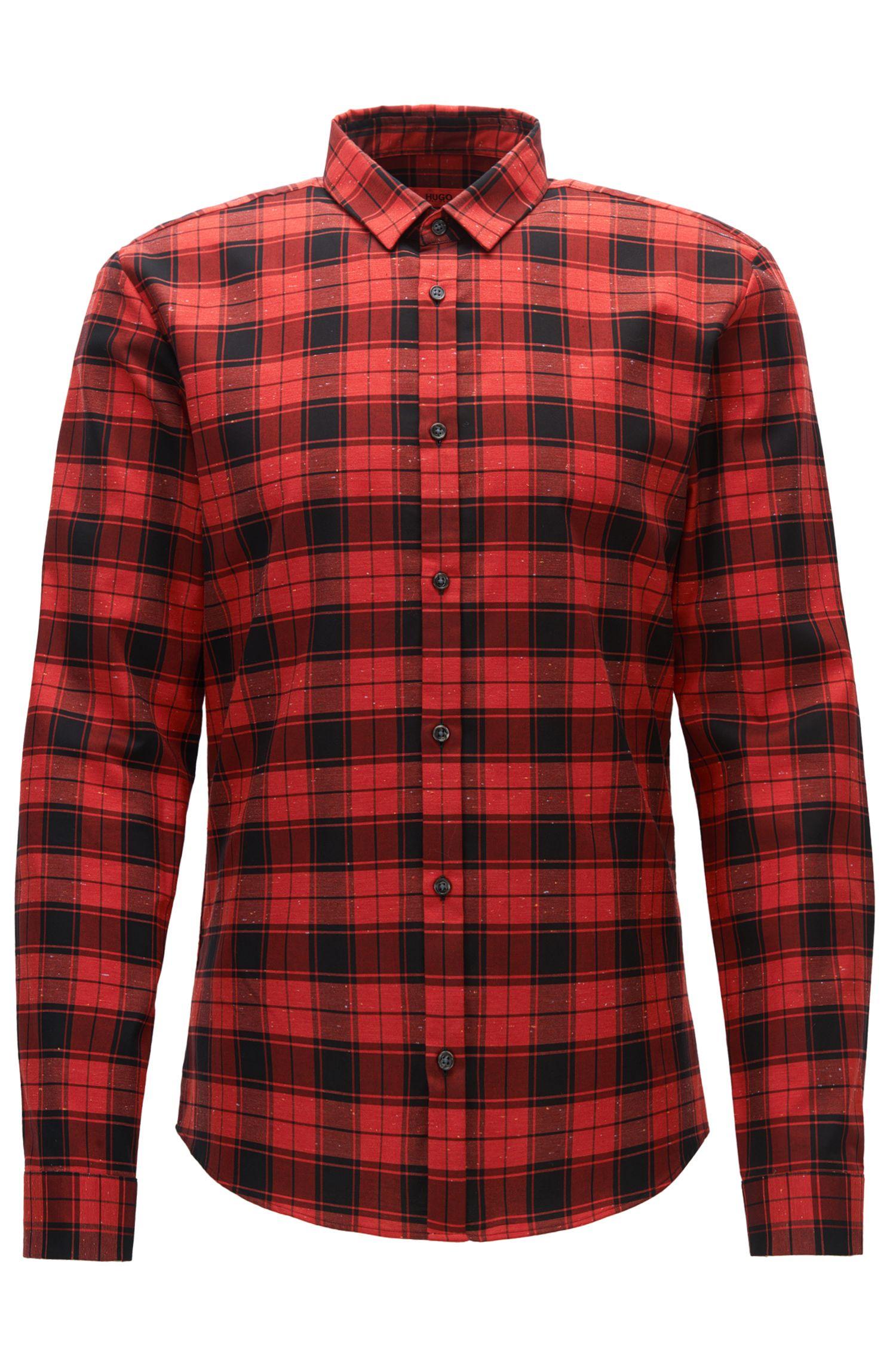 'Ero' | Extra Slim Fit, Plaid Slub Cotton Button Down Shirt