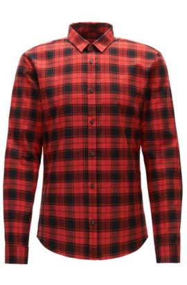 'Ero' | Extra Slim Fit, Plaid Slub Cotton Button Down Shirt, Red