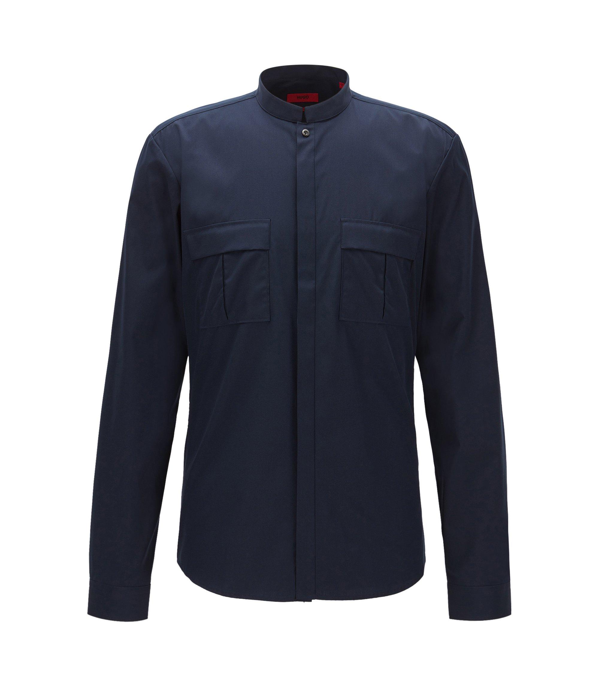 Poplin Cotton Button Down Shirt, Extra Slim Fit | Emesh, Dark Blue