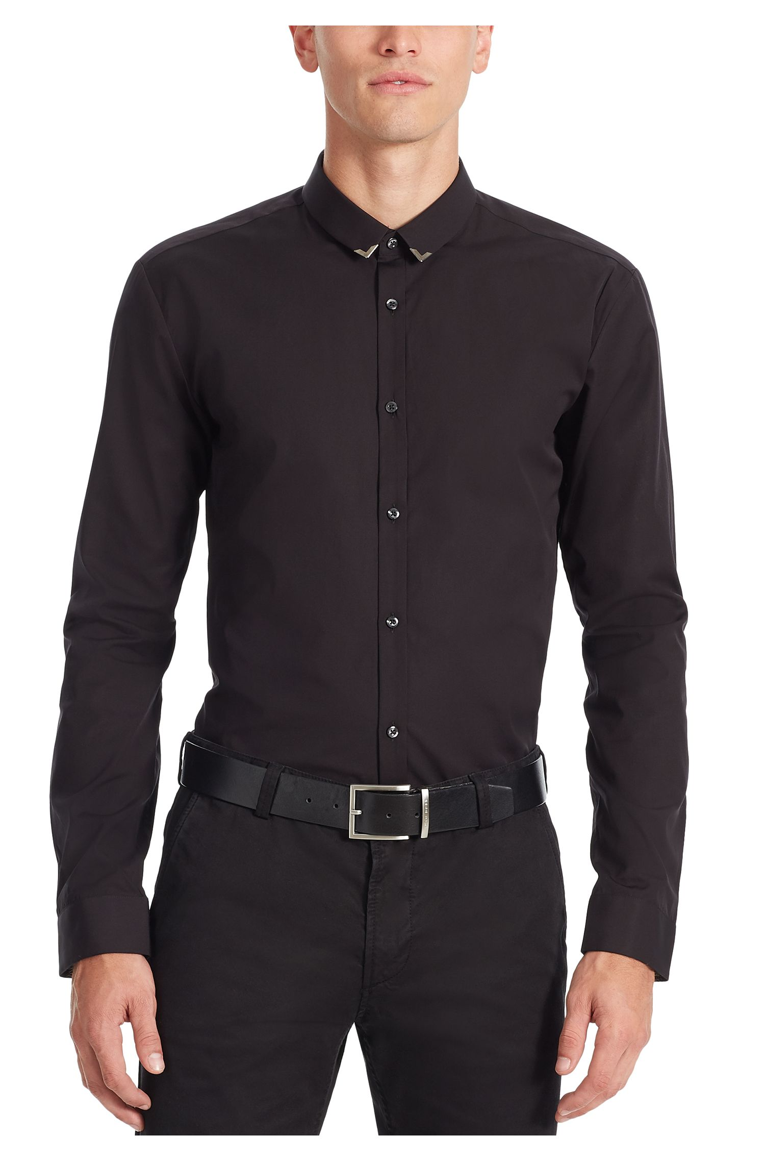 Slim-fit cotton shirt with metal collar tips