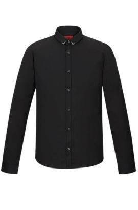 Cotton Poplin Button Down Shirt, Extra Slim Fit | Ero, Black