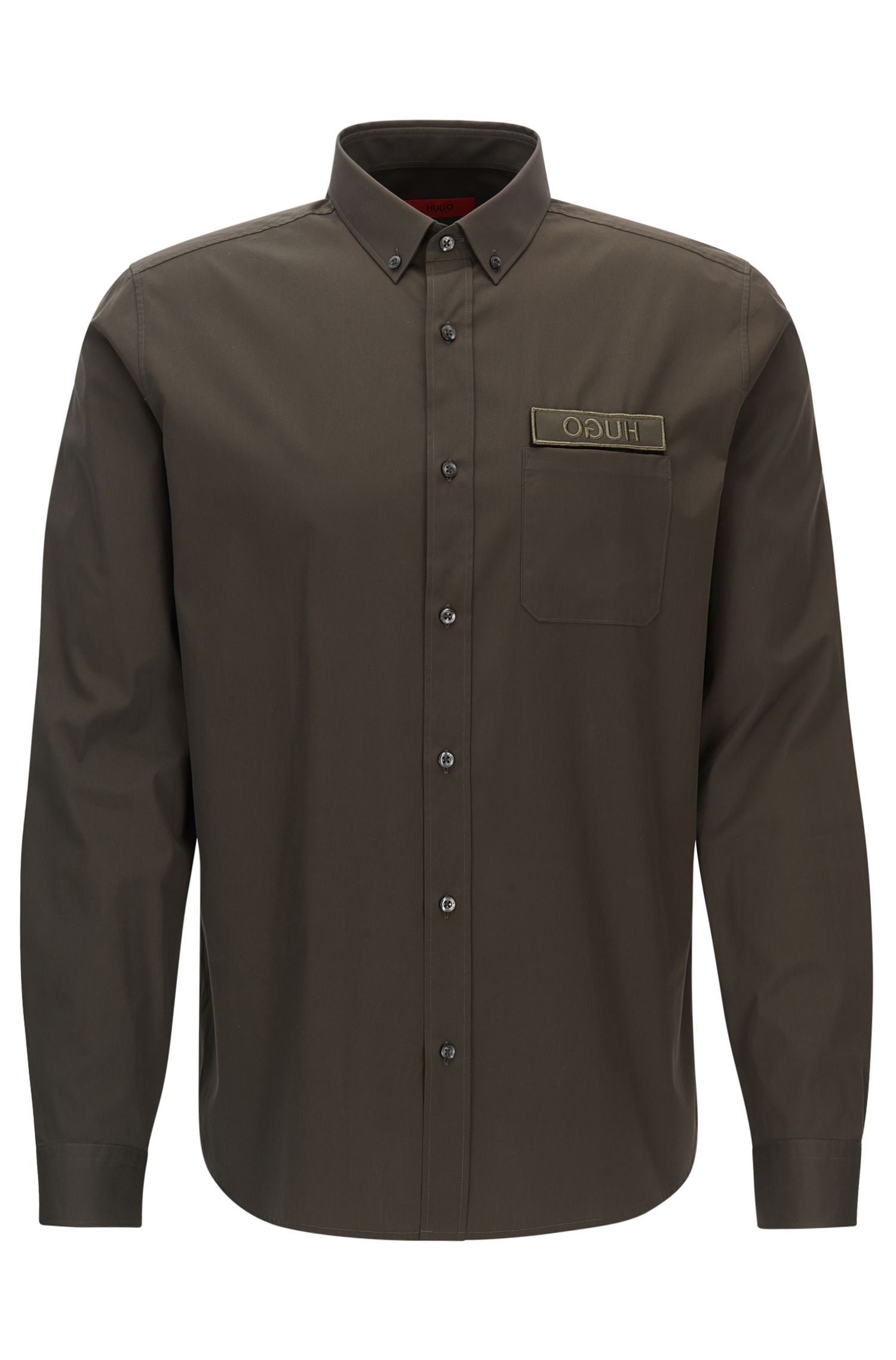 Patch Cotton Button Down Shirt, Relaxed Fit | Emingway