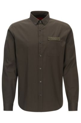 Patch Cotton Button Down Shirt, Relaxed Fit | Emingway, Dark Green
