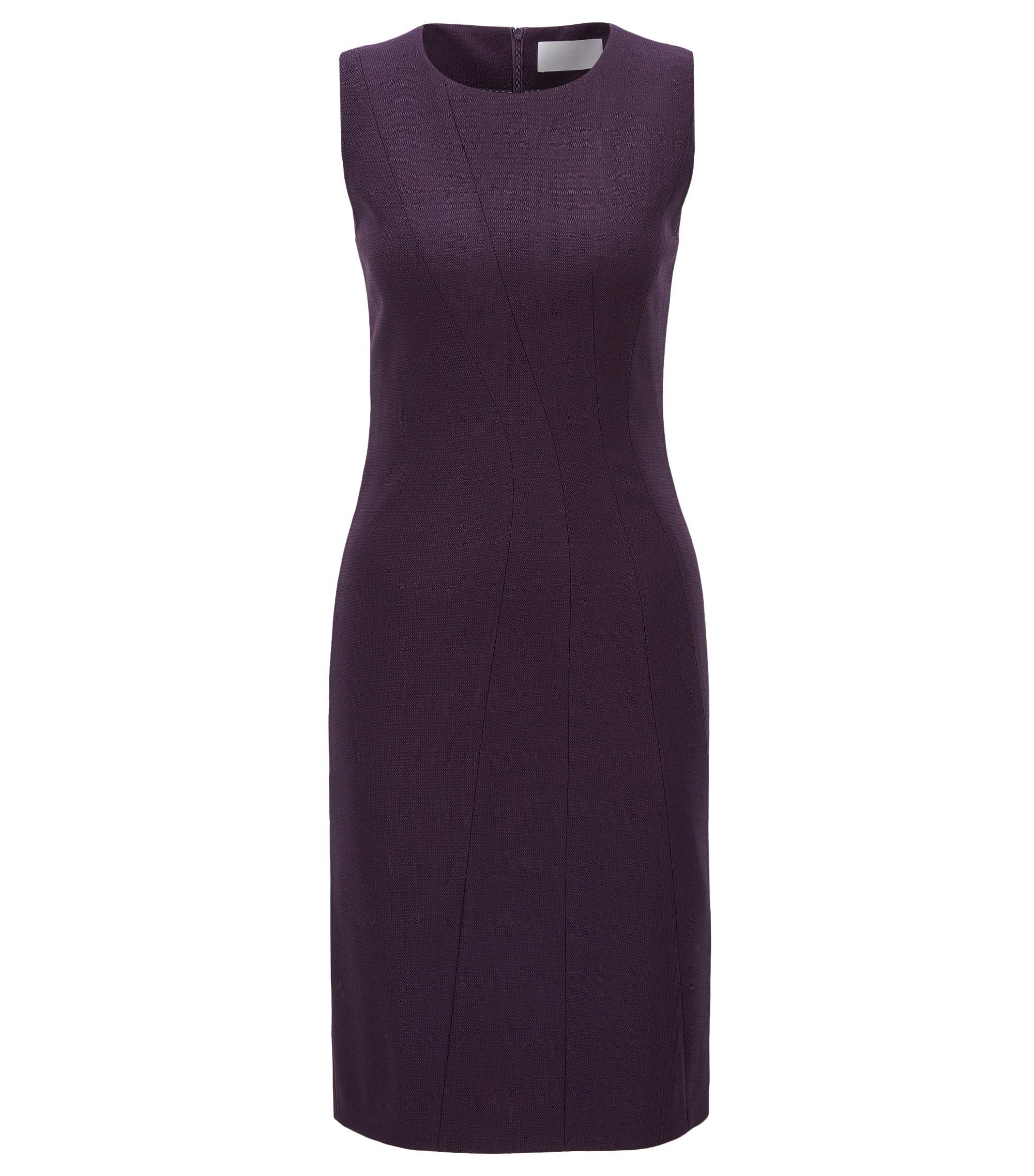 'Donalea' | Stretch Virgin Wool Sheath Dress, Dark Purple