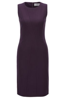 'Donalea' | Stretch Virgin Wool Sheath Dress, Dark Purple