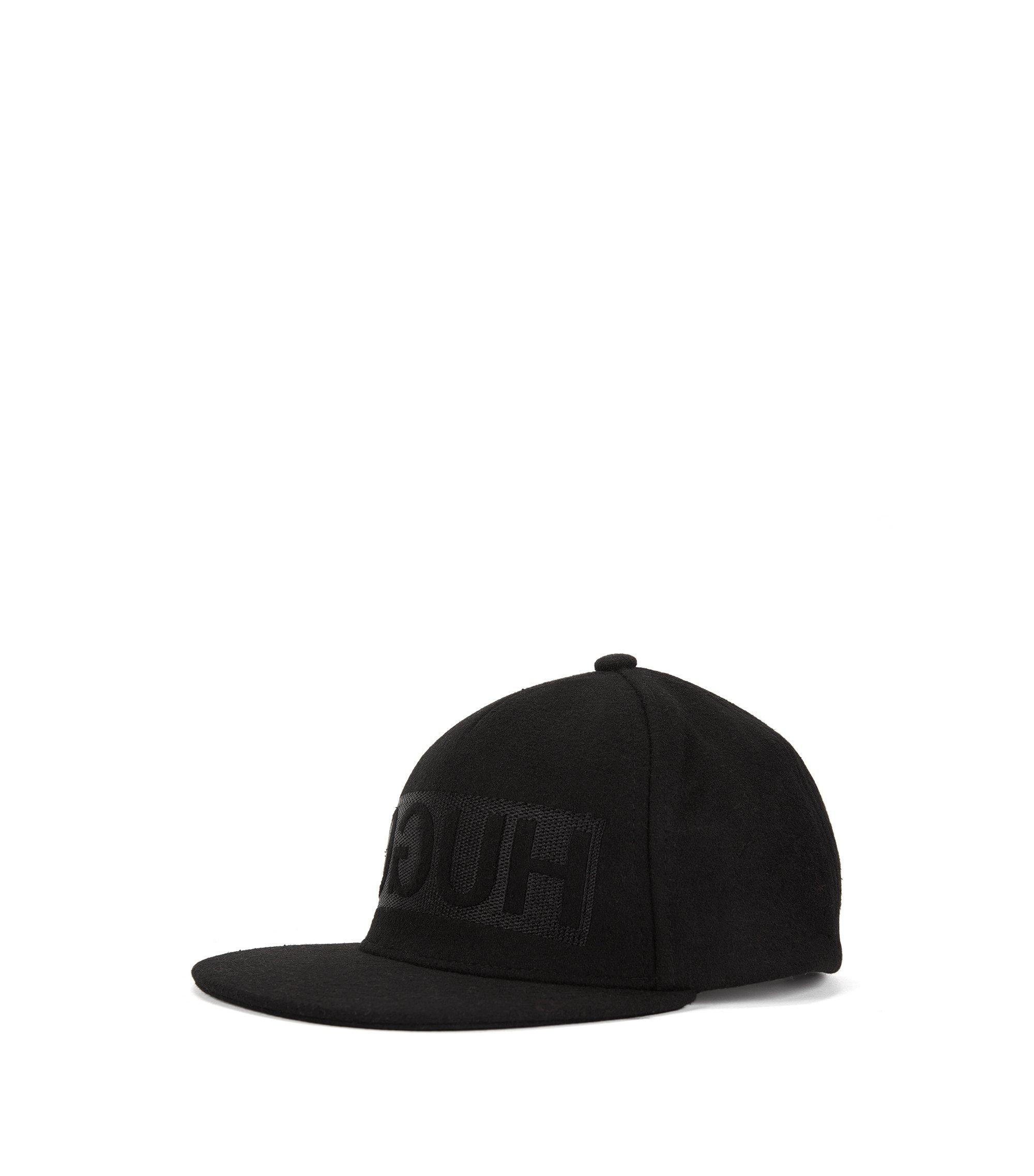 Reverse-logo baseball cap in wool felt , Black