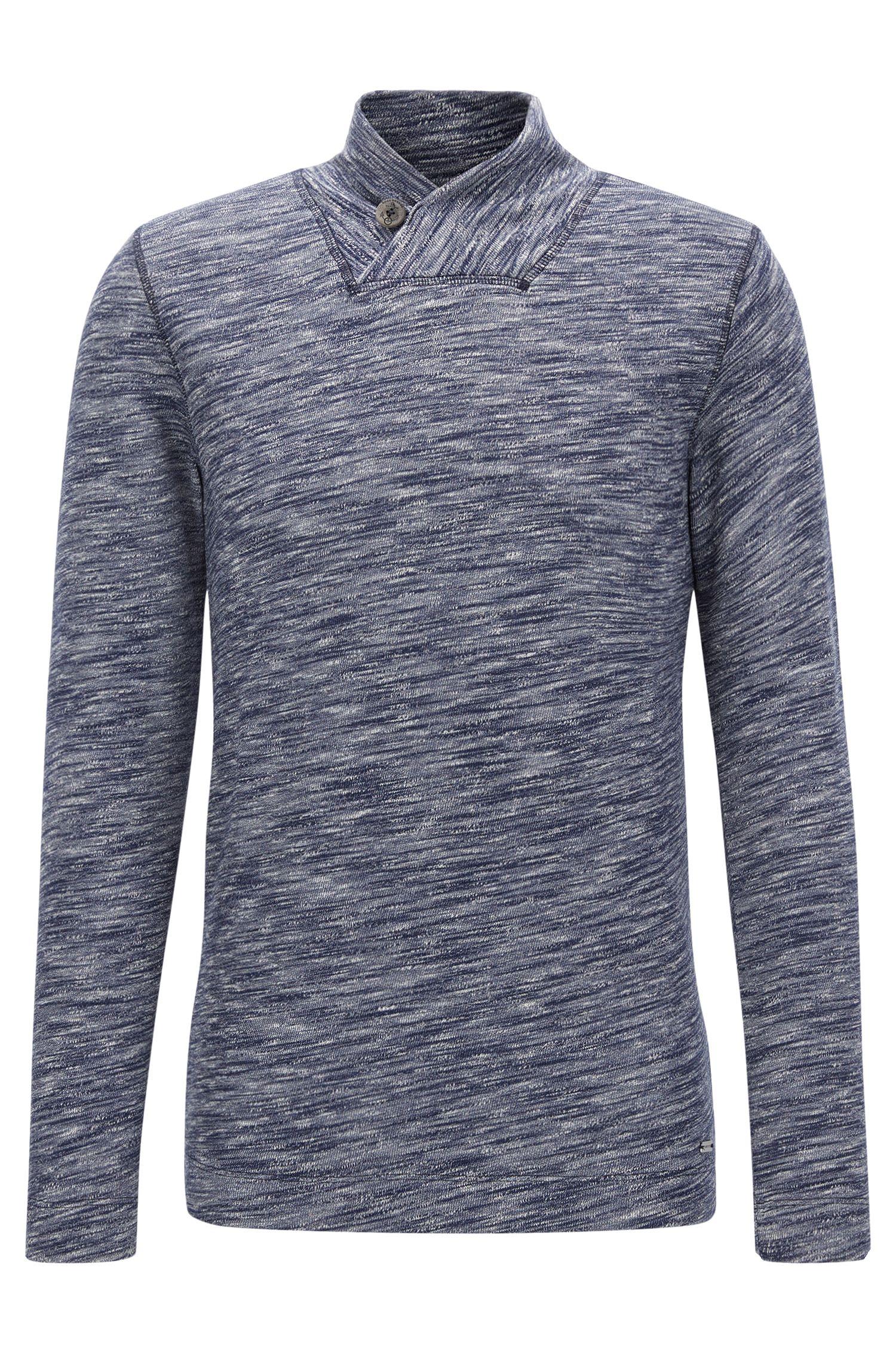 'Woolish' | Heathered Cotton Wool Jersey Sweater, Dark Blue