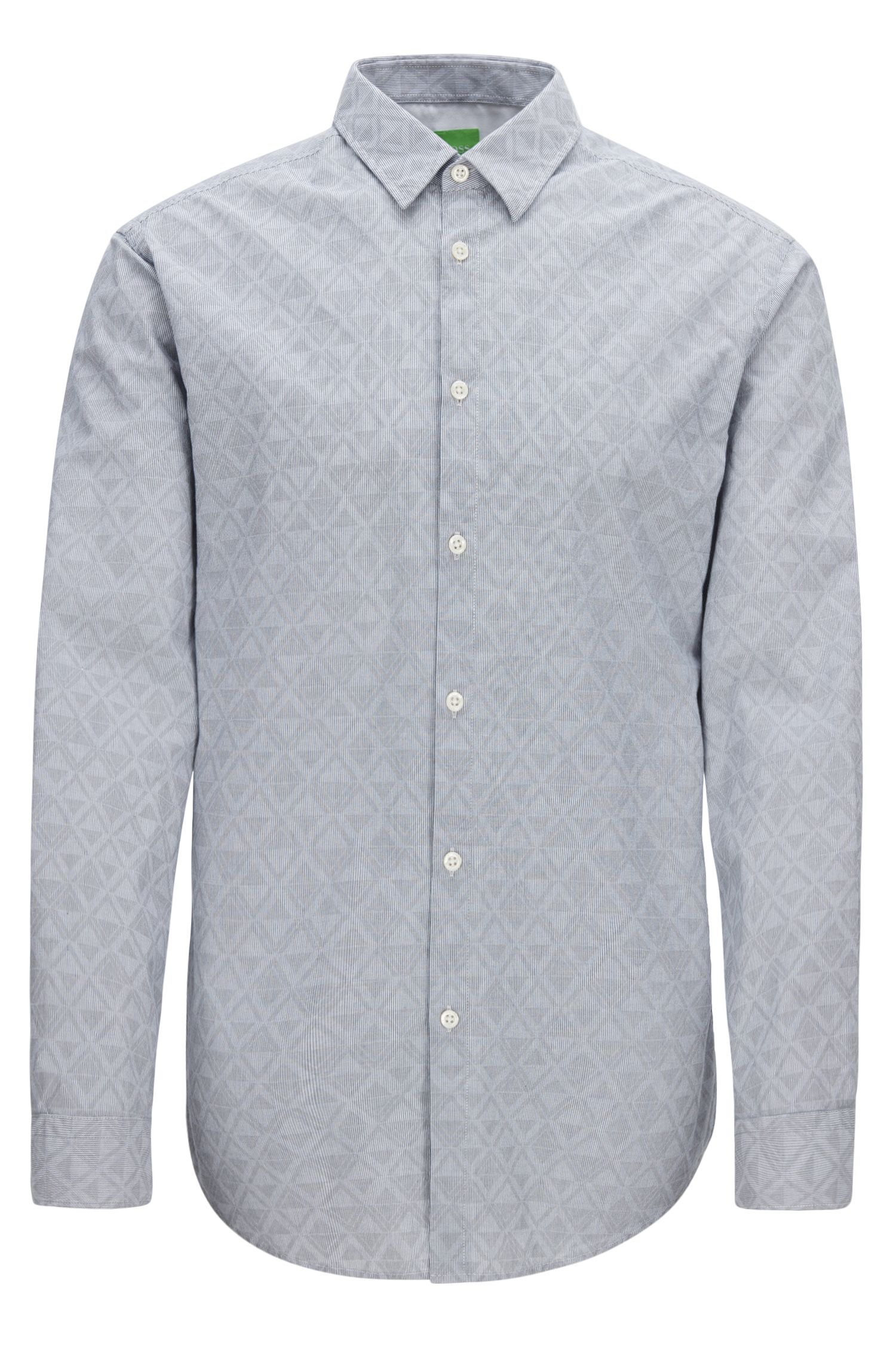 'C-Bustai R' | Regular Fit, Diamond Print Cotton Button Down Shirt