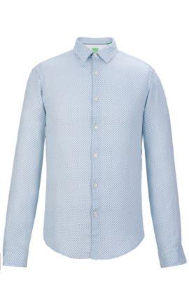 Cotton Button Down Shirt, Slim Fit   C-Bersh S, Open Blue