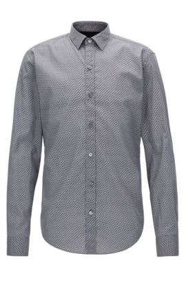 Cotton Poplin Button Down Shirt, Slim Fit | Robbie, Open Grey