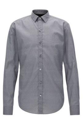 Cotton Poplin Button Down Shirt, Slim Fit | Robbie, Open Grey