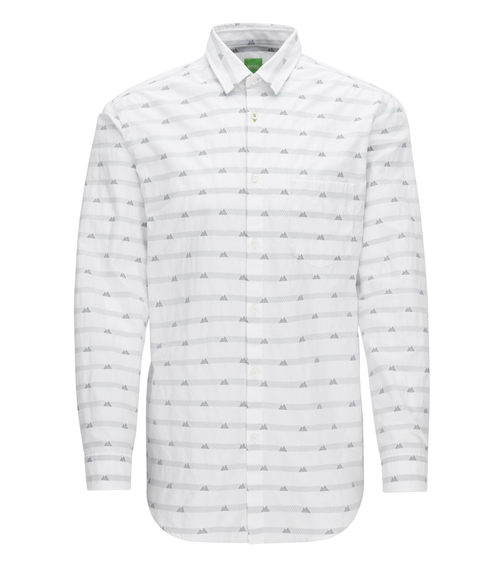 'Baul' | Regular Fit, Mountain-Print Cotton Button Down Shirt, White