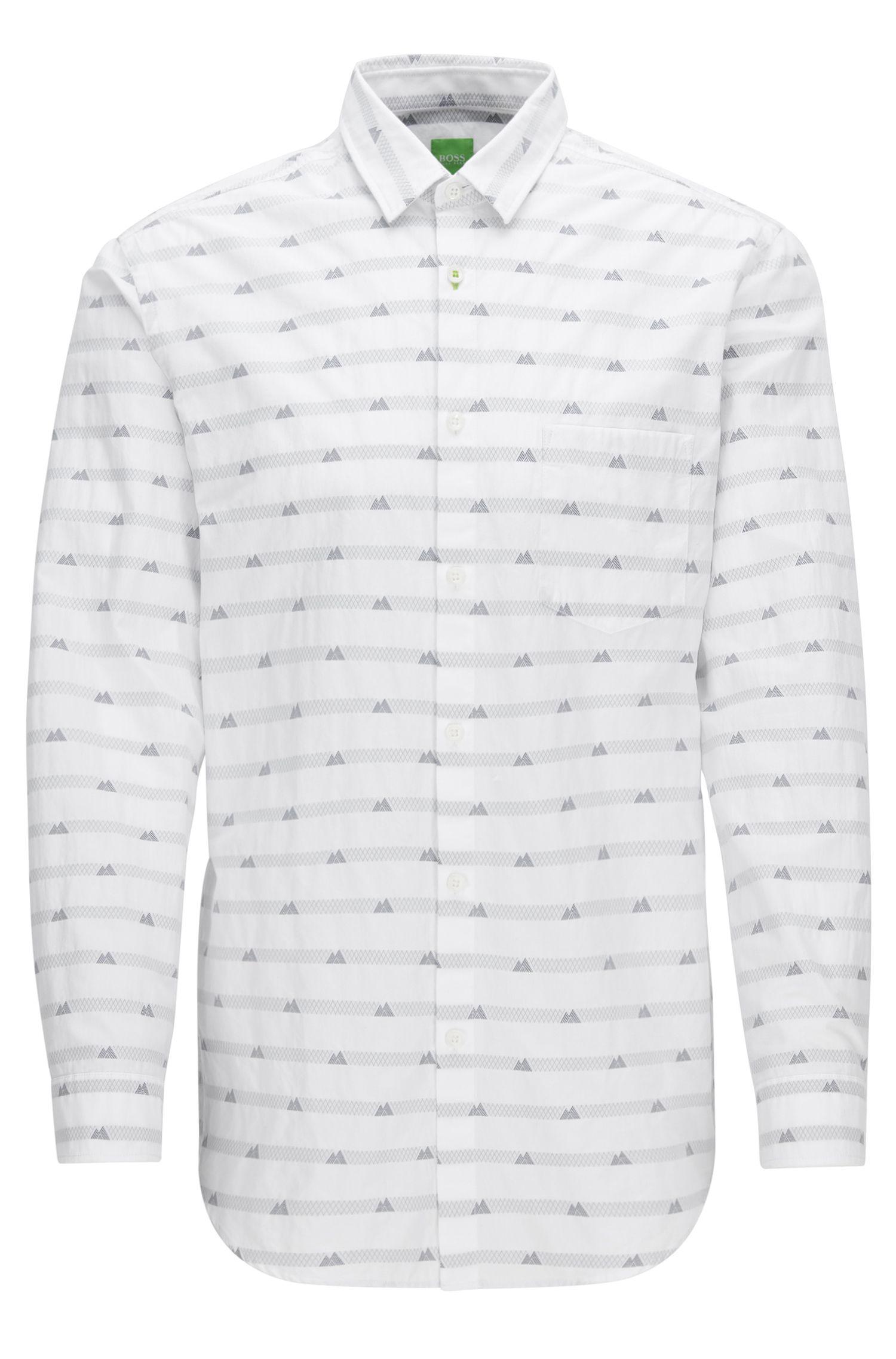 'Baul'   Regular Fit, Mountain-Print Cotton Button Down Shirt