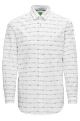 'Baul' | Regular Fit, Mountain-Print Cotton Button Down Shirt, White