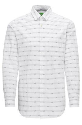 'Baul'   Regular Fit, Mountain-Print Cotton Button Down Shirt, White