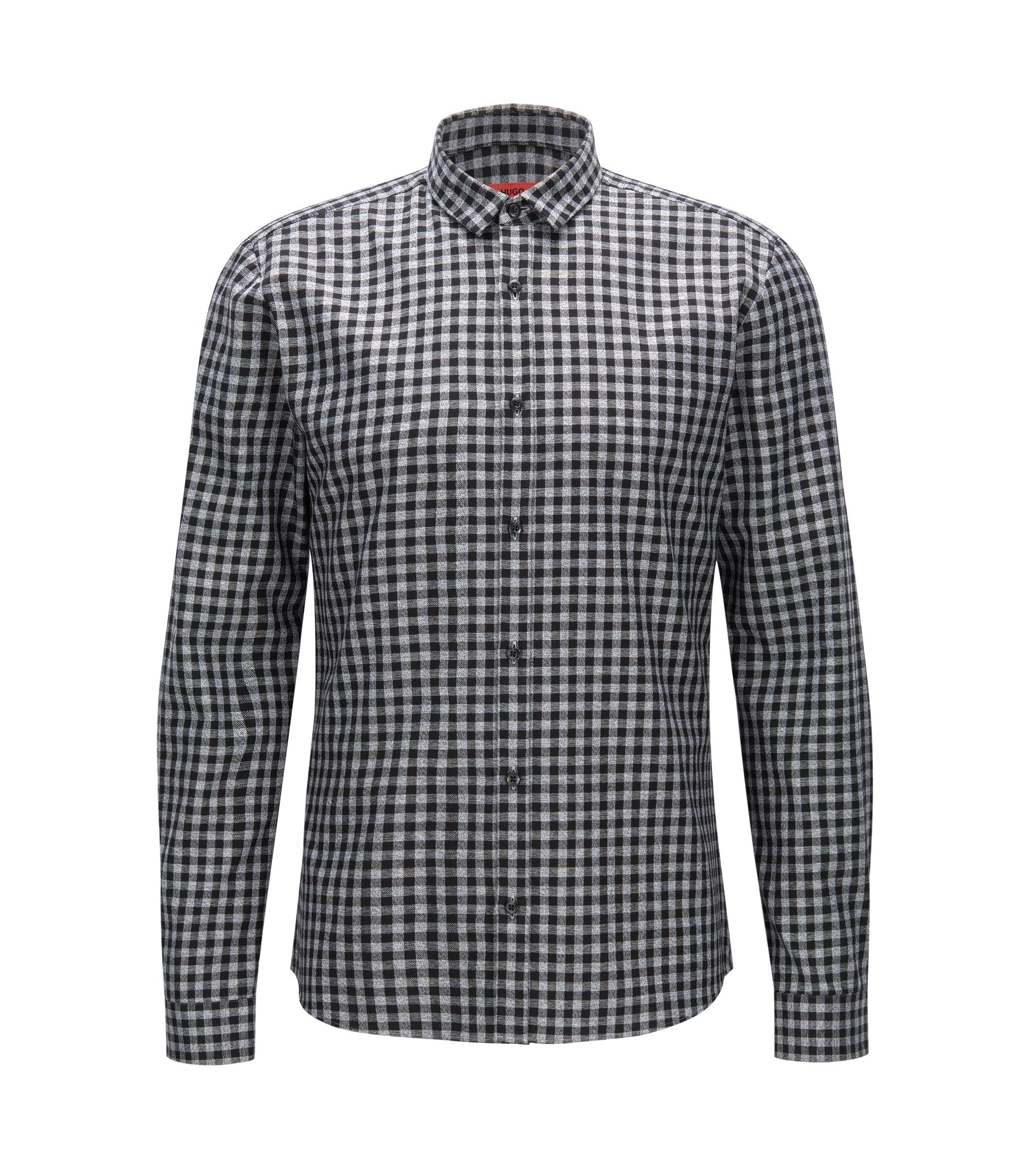 Gingham Cotton Button Down Shirt, Extra Slim Fit | Ero, Black