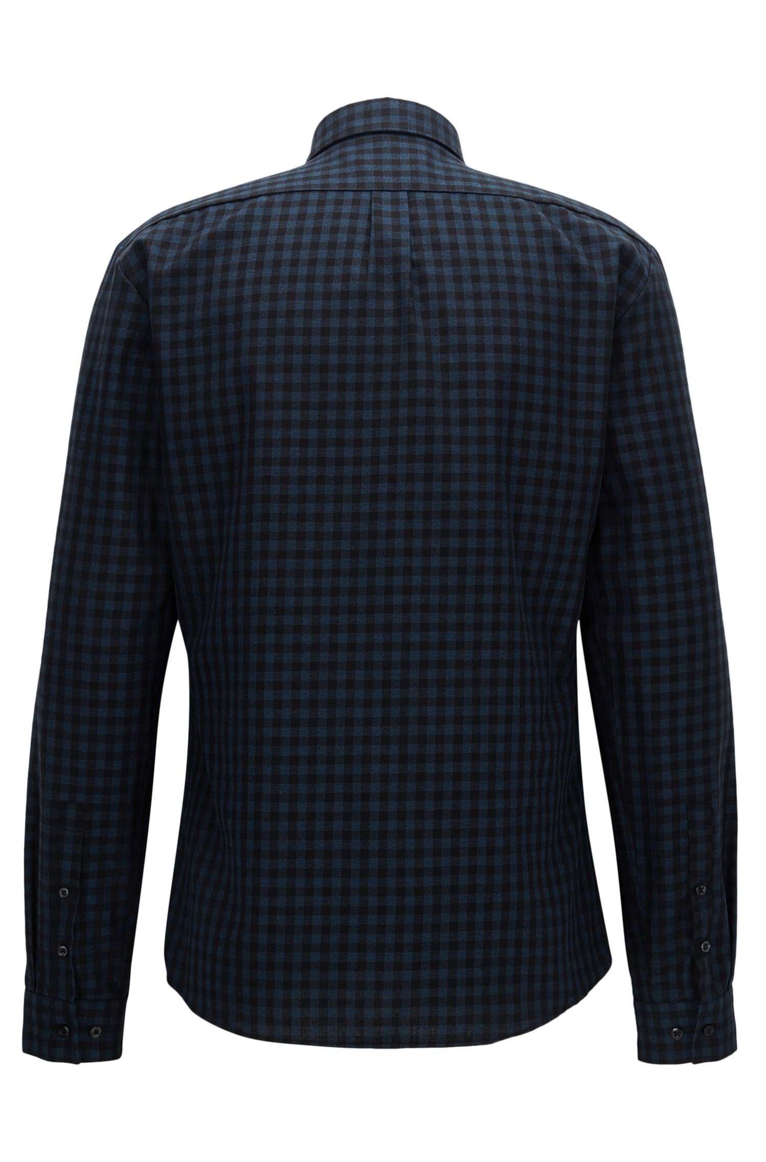 Gingham Cotton Button Down Shirt, Extra Slim Fit   Ero