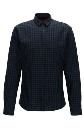 Gingham Cotton Button Down Shirt, Extra Slim Fit | Ero, Dark Blue