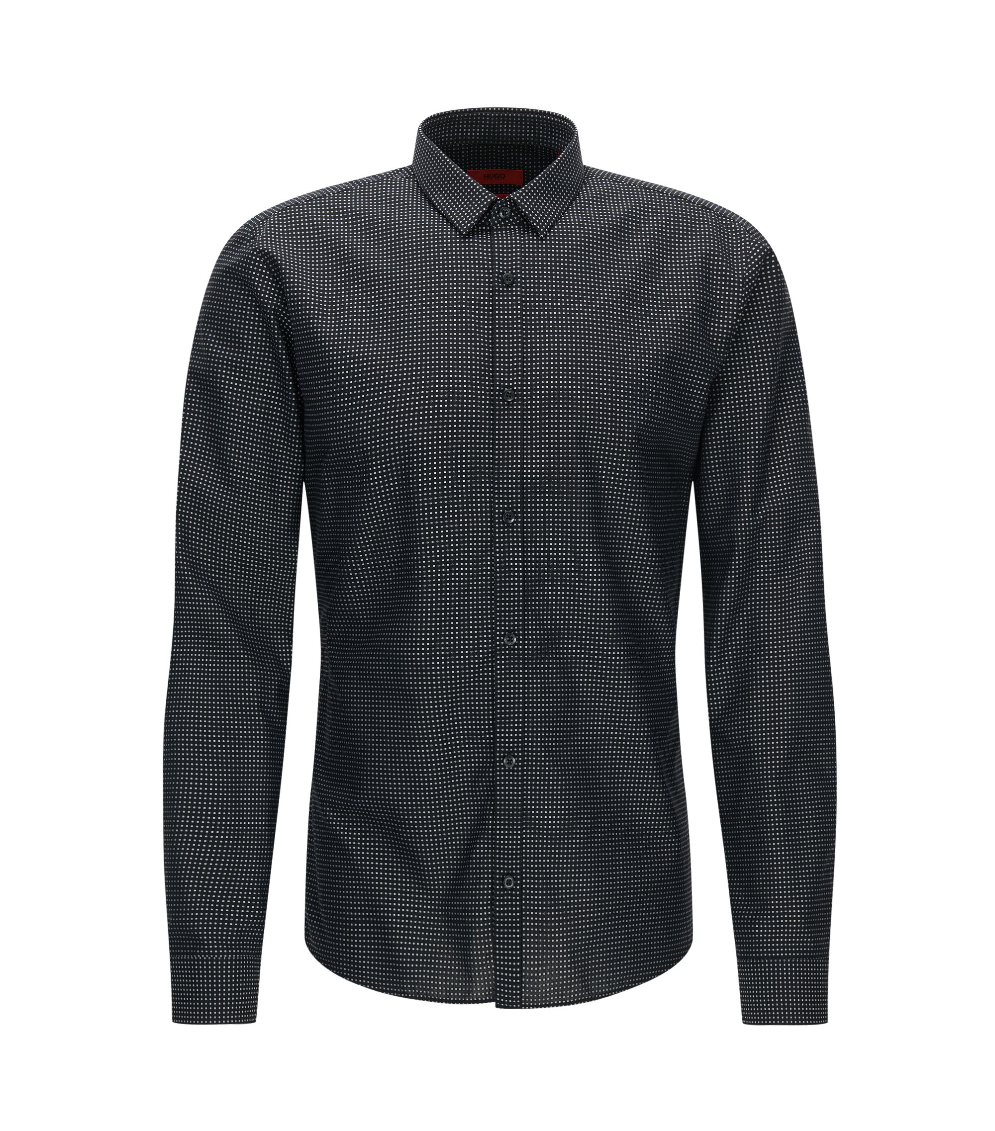 Fil Coupe Cotton Button Down Shirt, Extra Slim Fit   Ero, Black