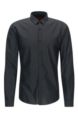 'Ero' | Extra Slim Fit, Square Fil Coupe Cotton Button Down Shirt, Black
