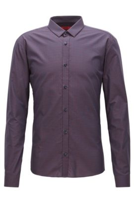 Fil Coupe Cotton Button Down Shirt, Extra Slim Fit | Ero, Red