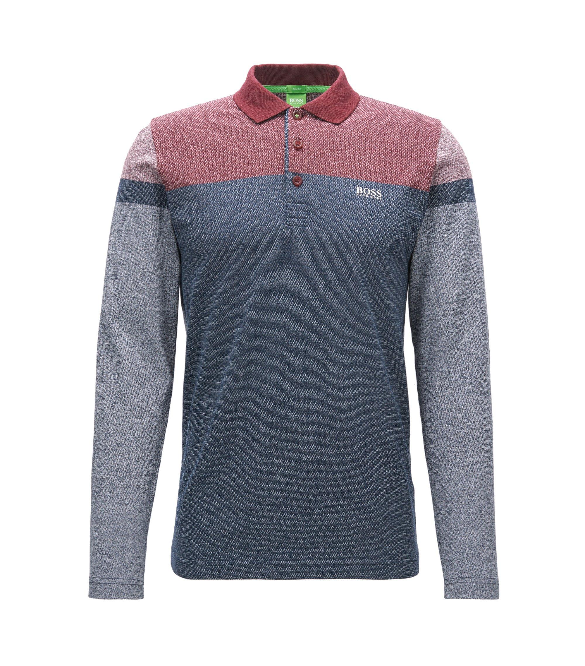 Colorblocked Cotton Polo Shirt, Slim Fit | Pleesy, Dark Blue