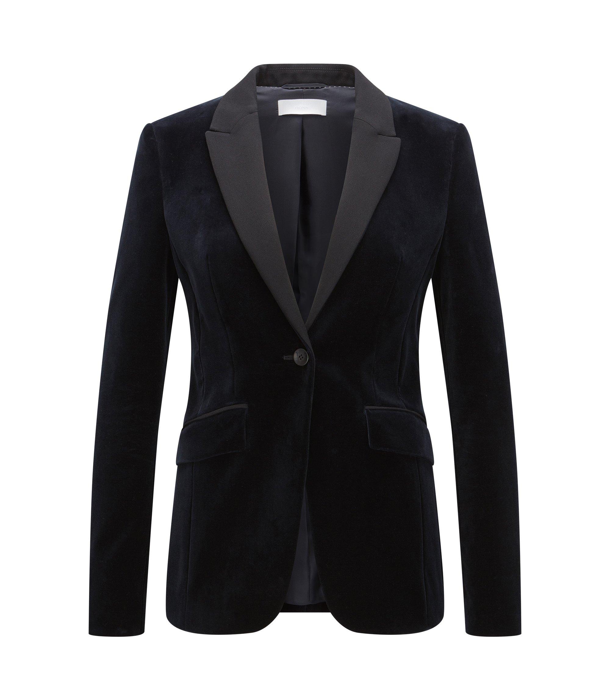 Velvet Tuxedo Jacket | Jeronala, Open Blue