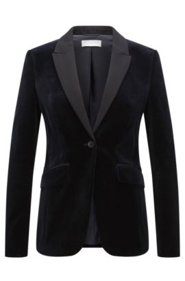 'Jeronala' | Regular Fit, Velvet Tuxedo Jacket, Open Blue