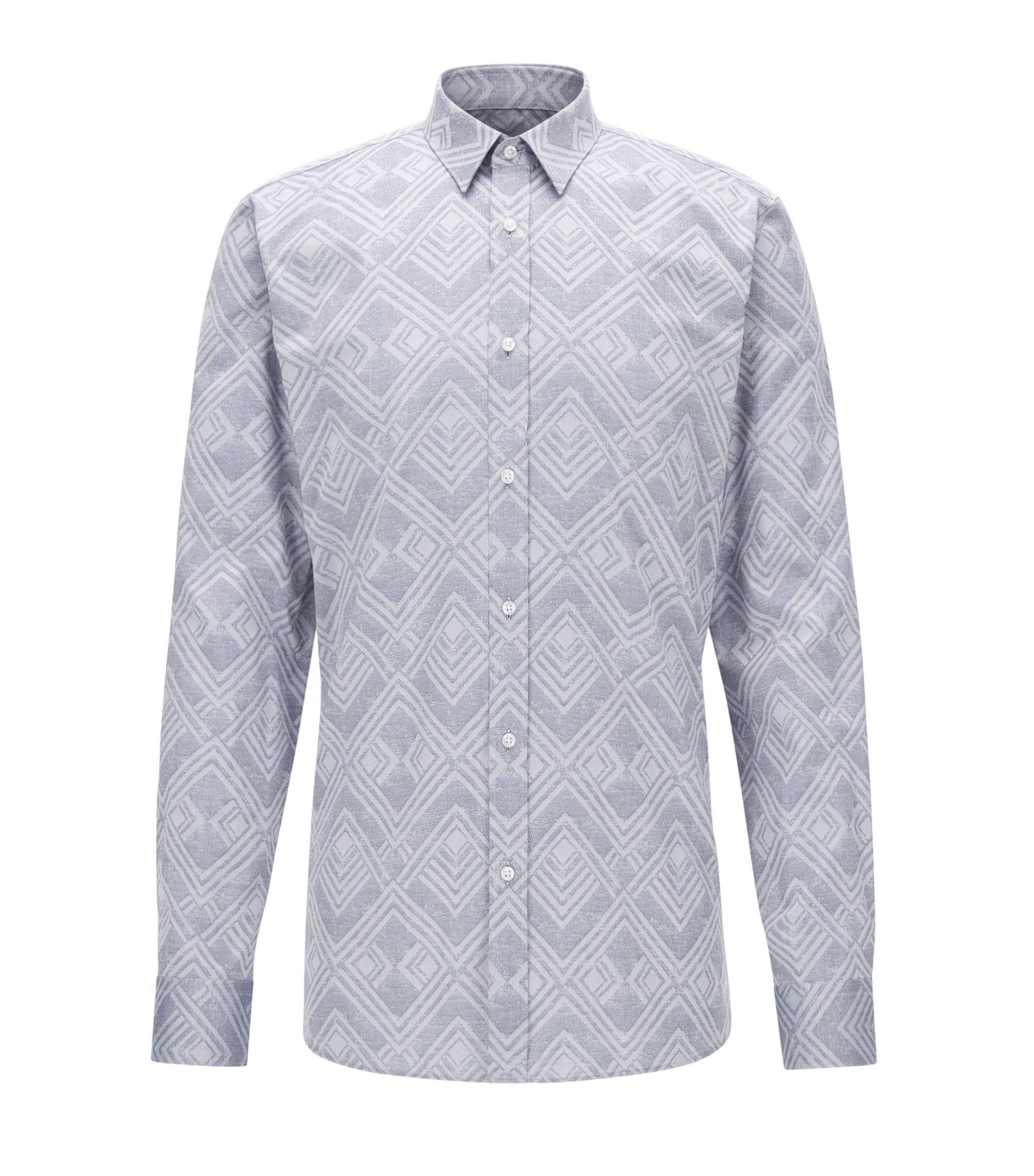 Jacquard Cotton Button Down Shirt, Extra Slim Fit | Elisha, Open Grey