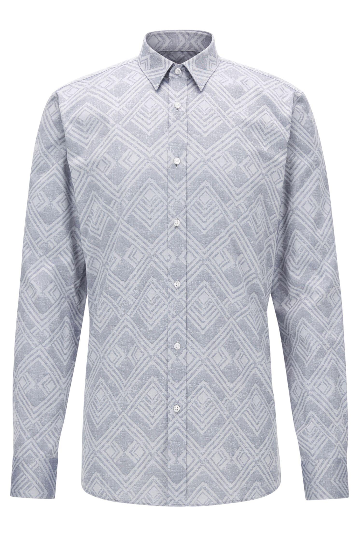 Jacquard Cotton Button Down Shirt, Extra Slim Fit | Elisha