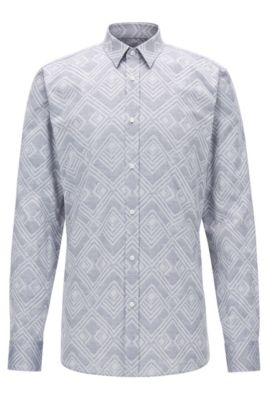 Jacquard Cotton Button Down Shirt, Extra Slim Fit | Elisha, Open Grey