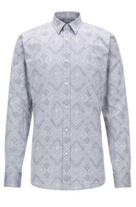 Jacquard Cotton Button Down Shirt, Extra Slim Fit   Elisha, Open Grey