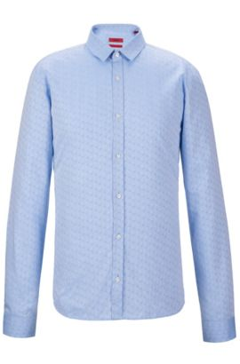 Jacquard Cotton Button Down Shirt, Extra Slim Fit | Ero, Light Blue