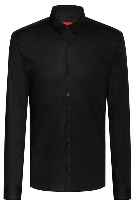 Extra-slim-fit shirt in stretch cotton, Black