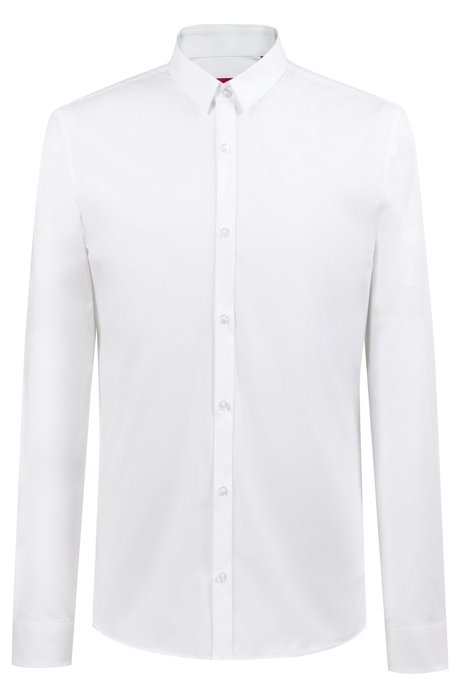 Extra-slim-fit shirt in stretch cotton, Open White