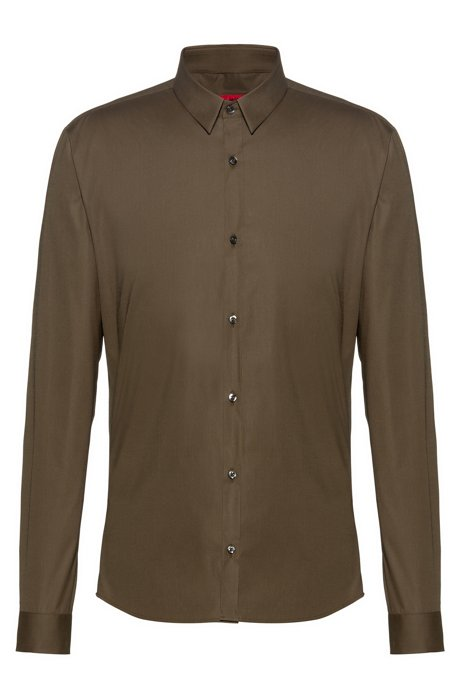 Extra-slim-fit shirt in stretch cotton, Open Green