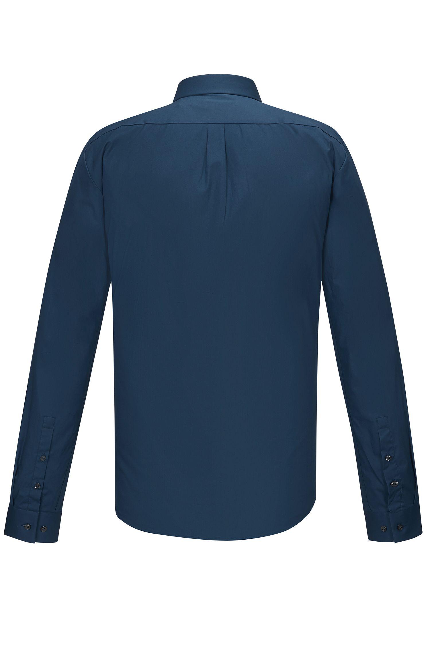 Stretch Cotton Button Down Shirt, Extra Slim Fit | Ero, Dark Blue