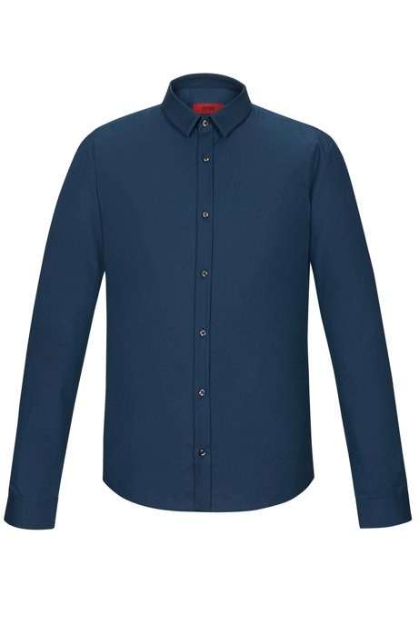 Extra-slim-fit shirt in stretch cotton, Dark Blue