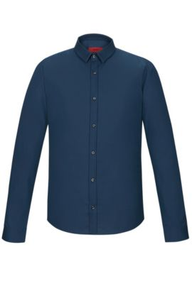'Ero' | Extra Slim Fit, Stretch Cotton Button Down Shirt, Dark Blue