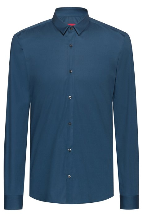 Extra-slim-fit shirt in stretch cotton, Open Blue