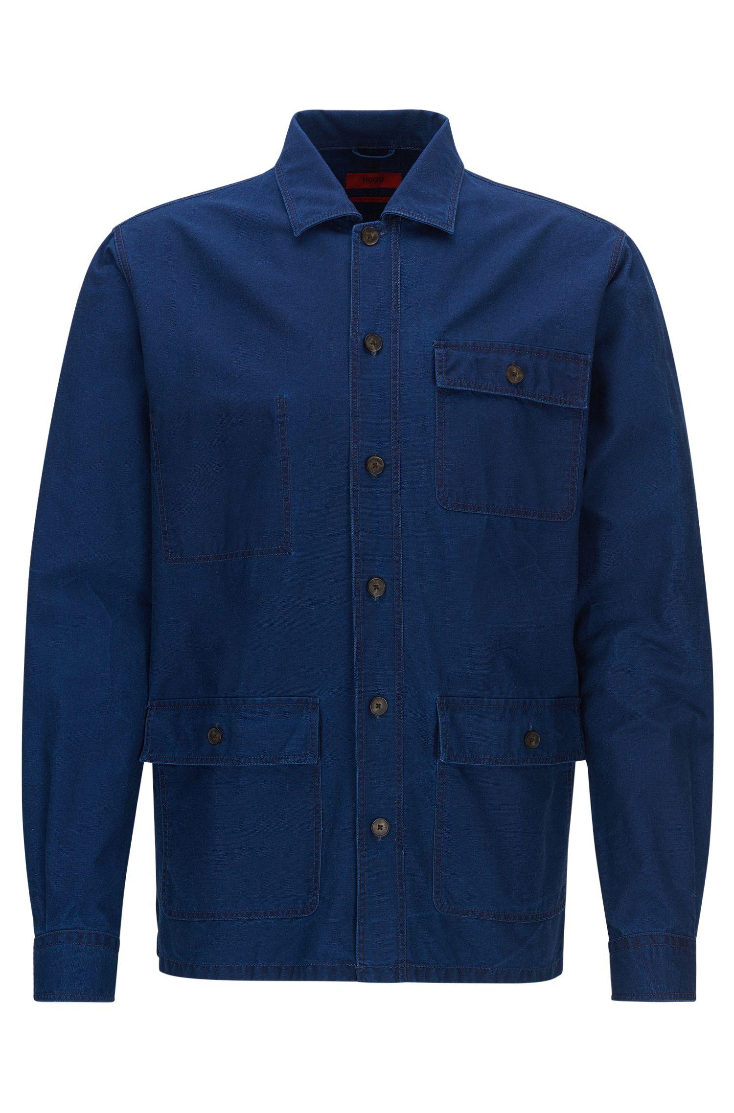 Cotton Denim Shirt Jacket, Relaxed Fit | Emilius