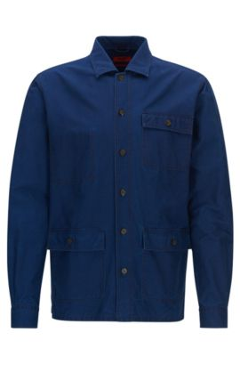 Cotton Denim Shirt Jacket, Relaxed Fit | Emilius, Blue