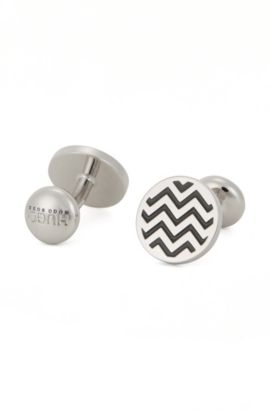 Chevron Brass Cufflinks | E-Twin, Black