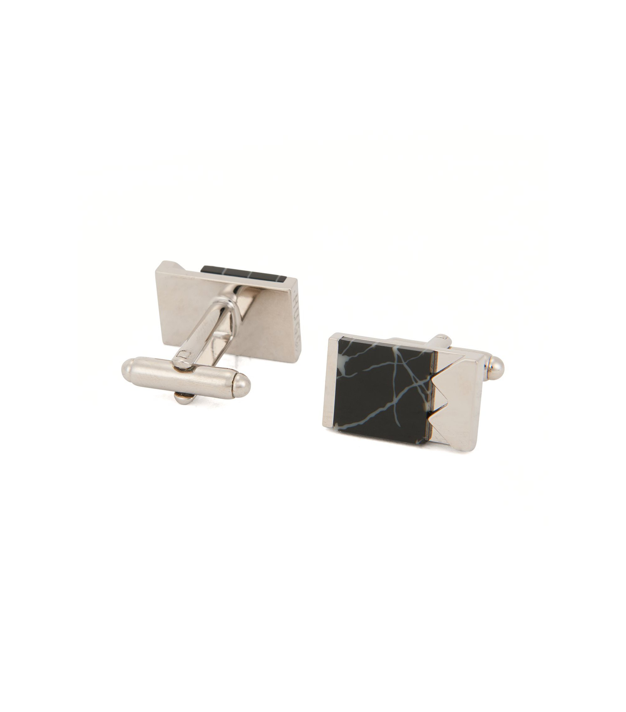 Marble & Brass Cufflinks | E-Mixed, Black