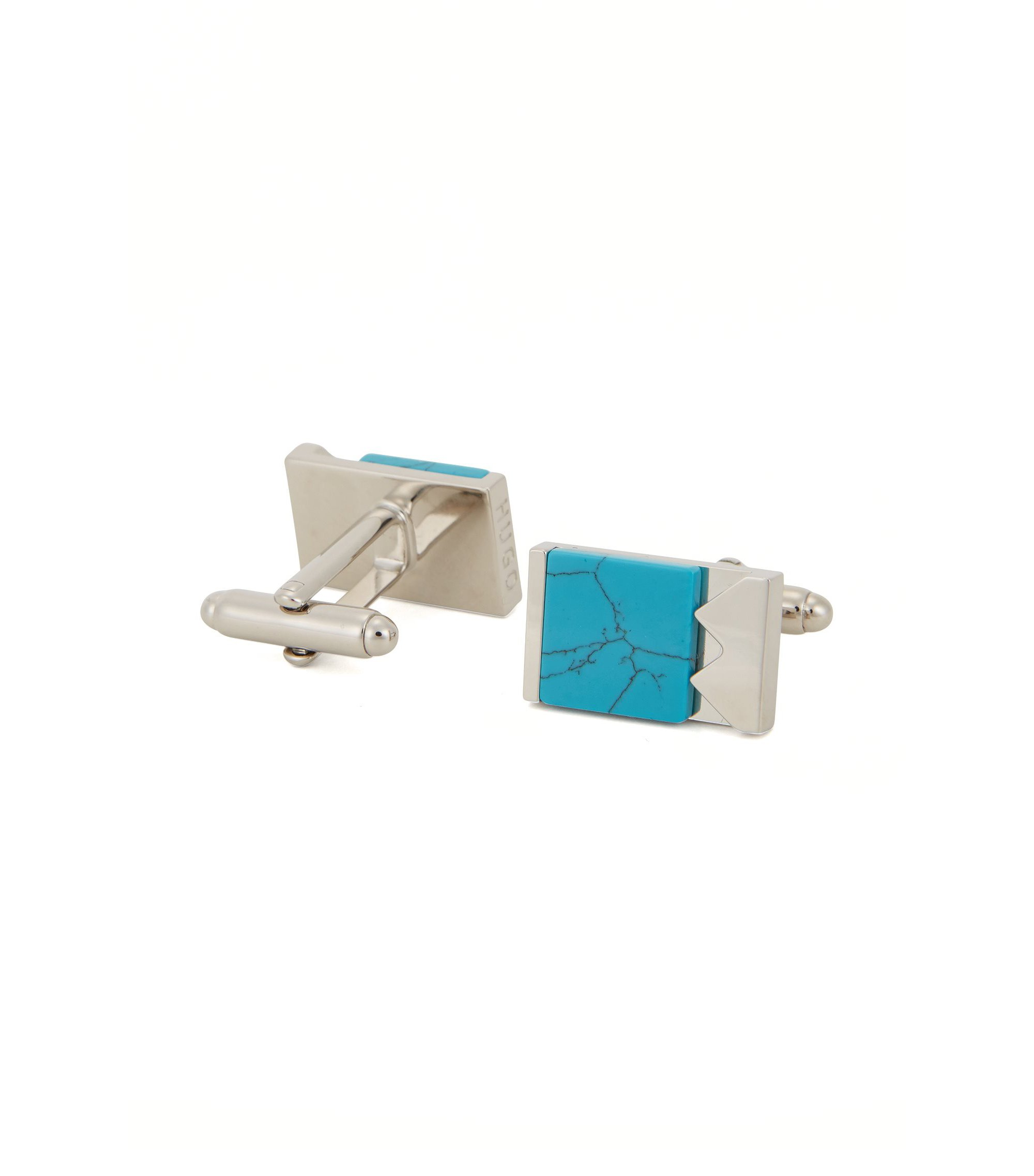 Marble & Brass Cufflinks | E-Mixed, Turquoise