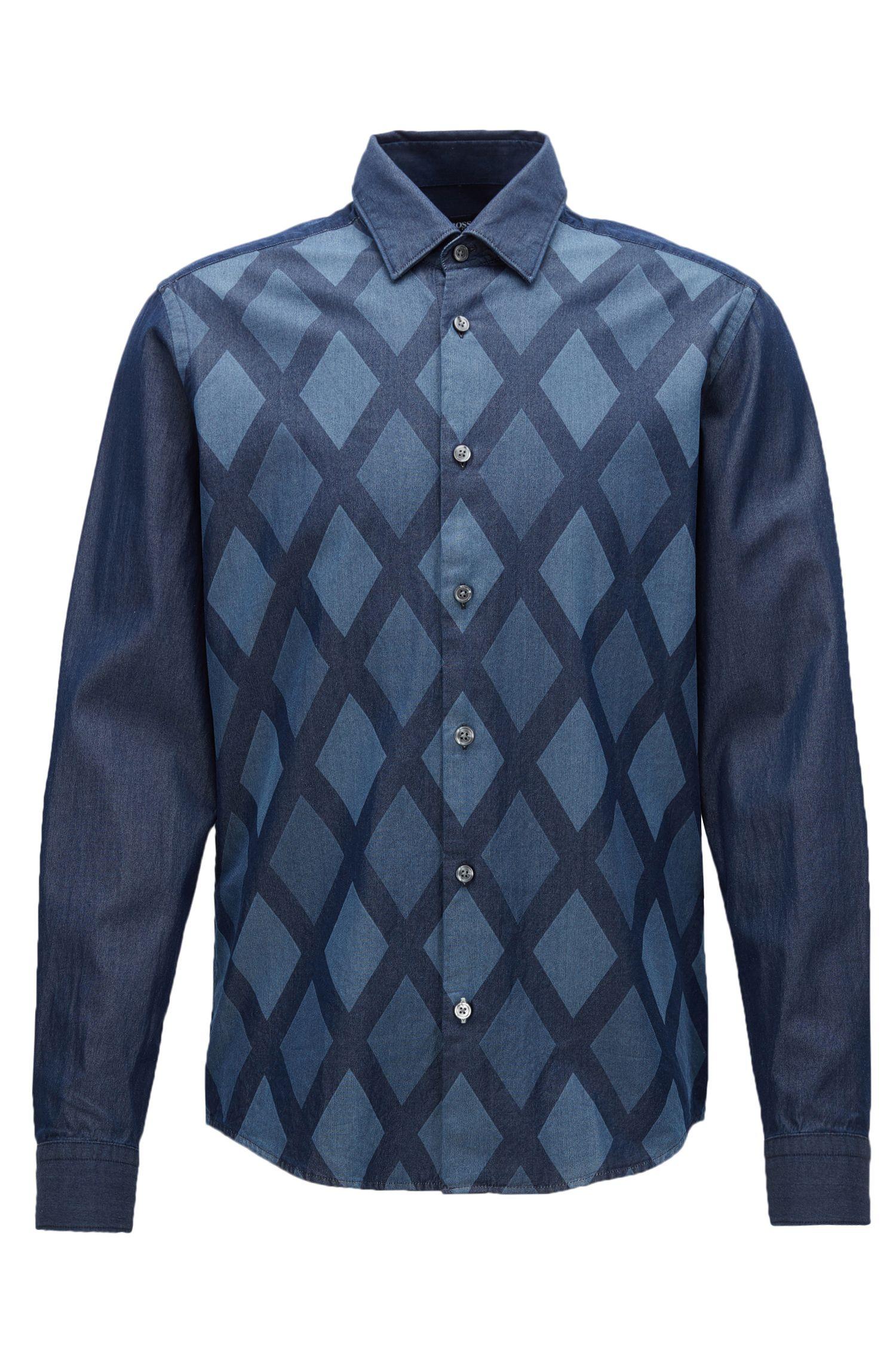 'Lance' | Regular Fit, Diamond Print Cotton Button Down Shirt