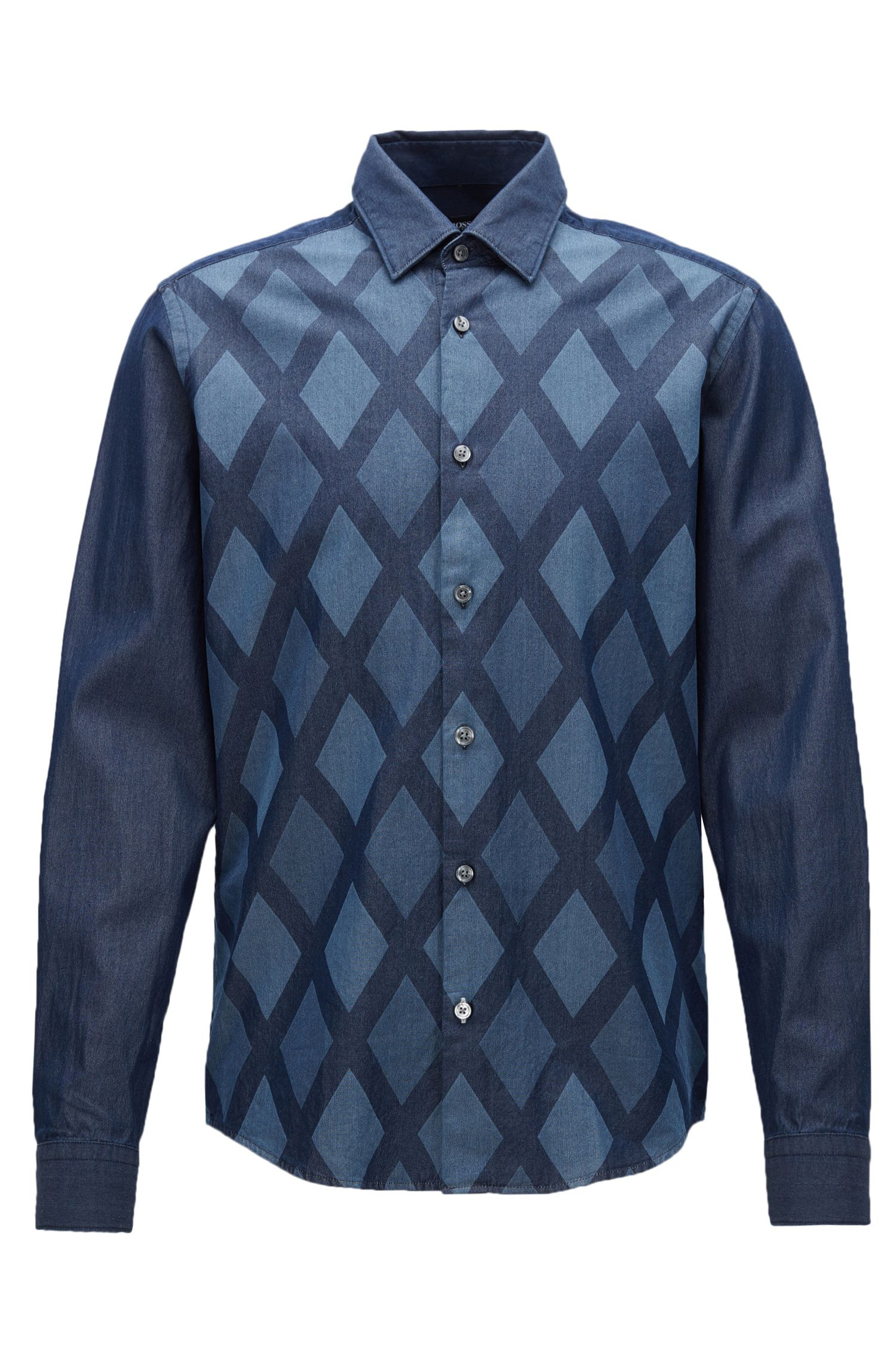 Diamond Print Cotton Button Down Shirt, Regular Fit | Lance